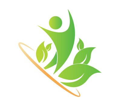 Logo of a healthy lifestyle, unity with nature, ecology. Flat design.