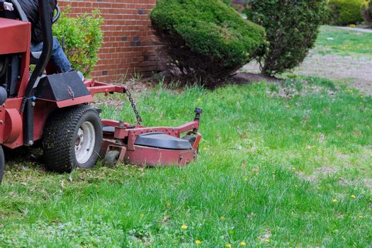 Garden care work tool in working lawn mower on green lawn with trimmed grass