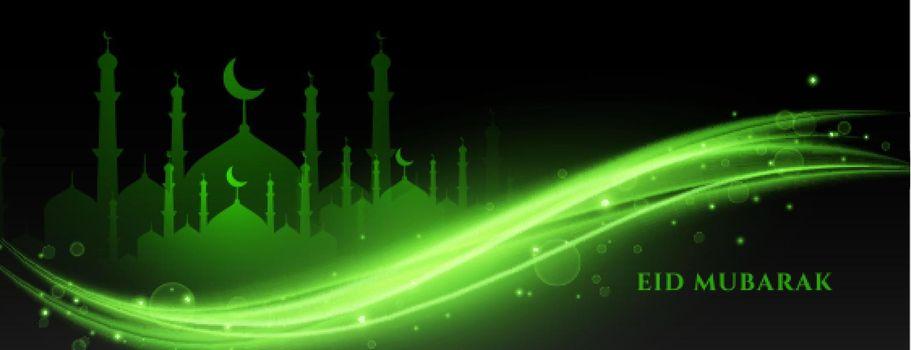 green eid mubarak lights banner design