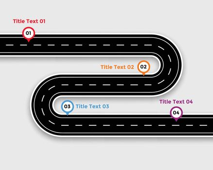 pathway infographic template with winding road