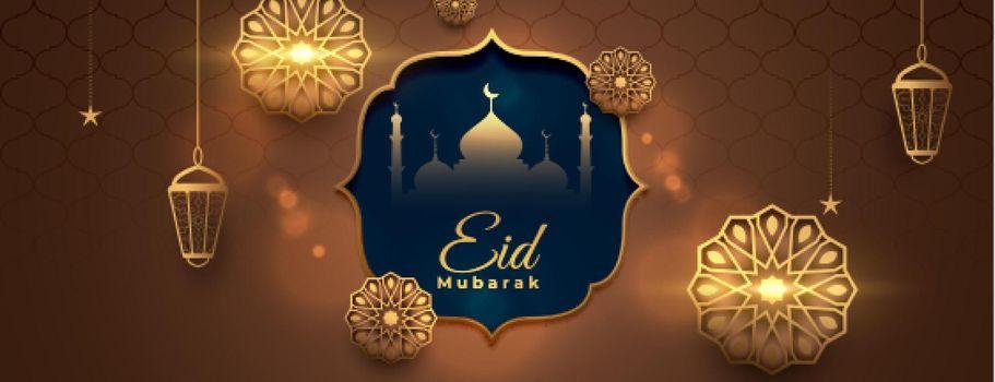 realistic eid mubarak holiday banner with islamic decoration