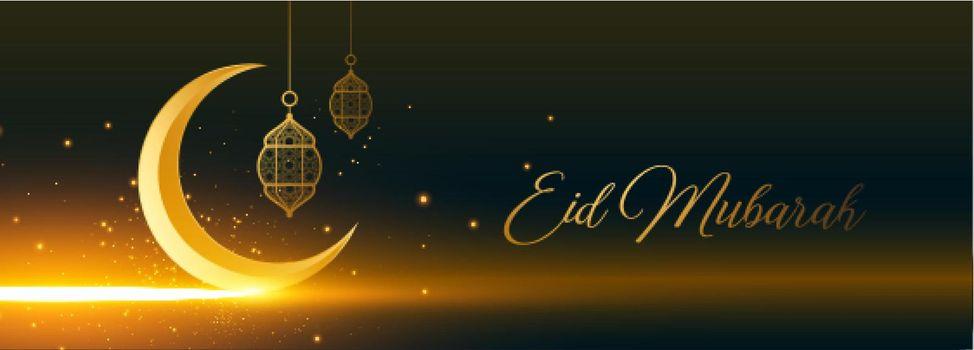 shiny eid mubarak golden moon and lantern banner