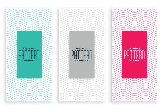 stylish line wavy smooth minimal banners set