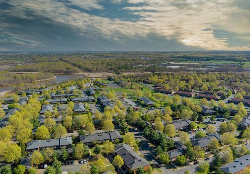 Panorama landscape of typical multi level apartment buildings complex small american suburban town