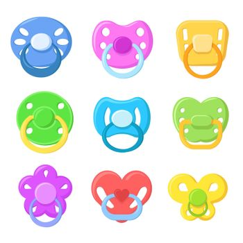 Bright children pacifiers flat pictures set