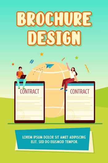 Business partners signing contract online