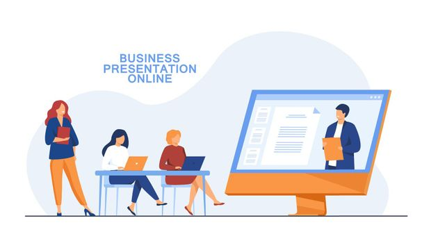 Businesswomen listening to presentation online