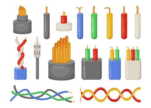 Cartoon electrical cables flat vector illustrations set