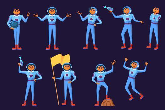 Funny aliens men in blue spacesuits set