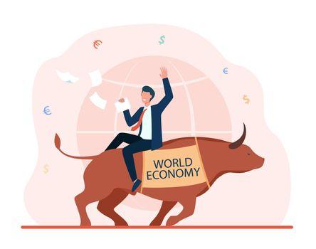Happy businessman sitting on bull
