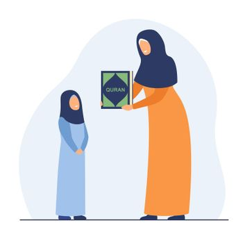 Happy mother showing Quran book to daughter