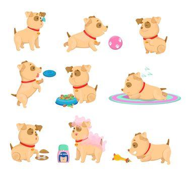 Happy puppy daily routine cartoon illustrations set