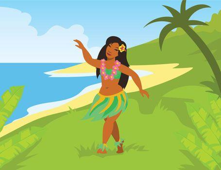 Hawaiian woman in national costume dancing on seashore