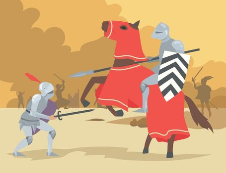 Knight on horse and dismount warrior fighting