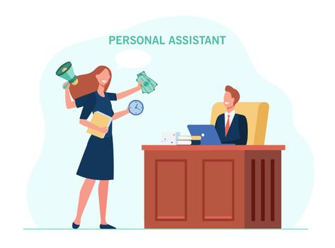 Leader working with personal assistant