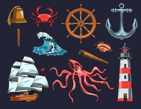 Maritime and nautical elements illustration set
