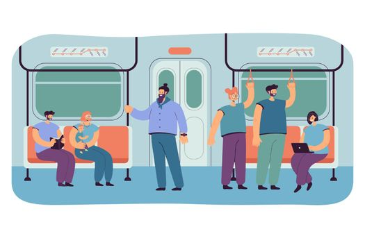Passengers in subway or underground car interior