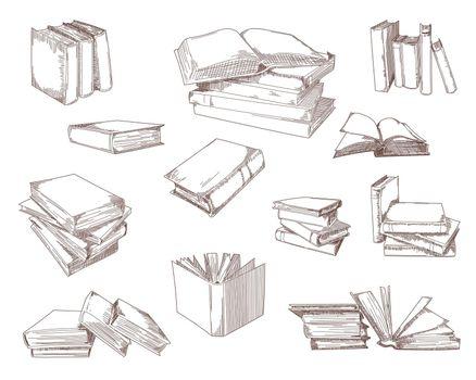 Open books, stacks, notebooks sketch set