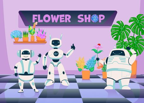 Robots in flower plants shop