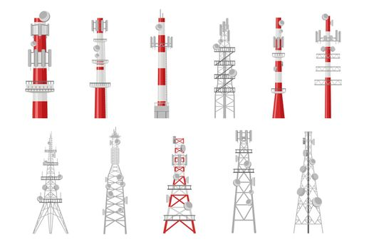 Set of cartoon radio towers vector illustration