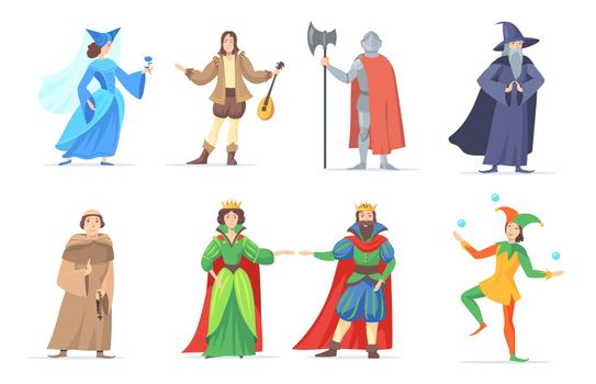 Set of medieval cartoon characters in historical costumes