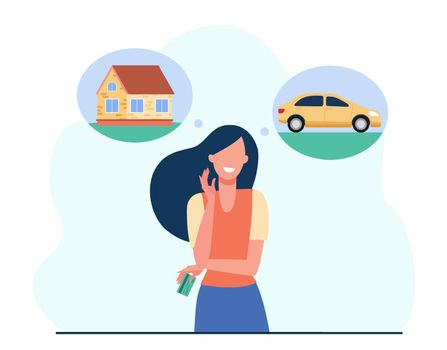 Smiling woman choosing between car and house