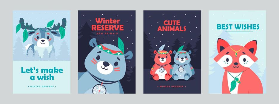 Stylish poster designs with cute mammals