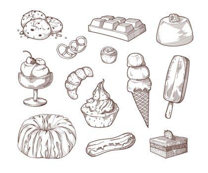 Sweet desserts sugar food sketch set