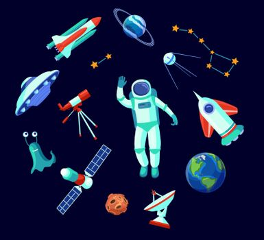 Trendy space elements flat pictures collection