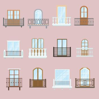 Windows and balconies set
