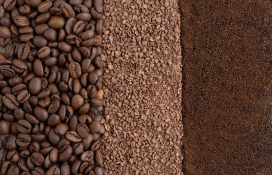 Background of roasted coffee beans, granulated chicory and ground coffee. Background of coffee beans and coffee powder.
