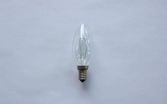 Small tungsten light bulb isolated on white background.