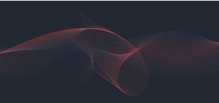 Abstract blue and red wave or wavy line flowing dots particles on dark background. Vector illustration