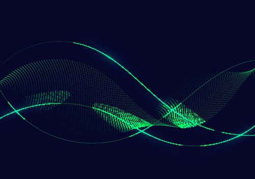 Abstract green wavy lines with dots particles and lighting on dark blue background. Vector illustration