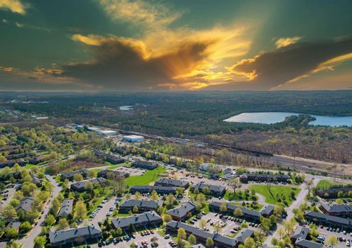 Aerial view urban landscape on apartment complex small american town a sleeping area home roofs