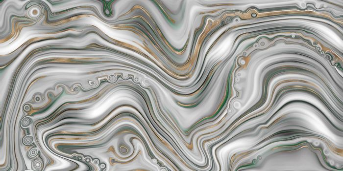 Abstract agate marble background in pastel green, fake stone texture, trendy green marbling effect with gold veins, creative agate, artistic marble agate stone. Modern marbled surface. Illustration