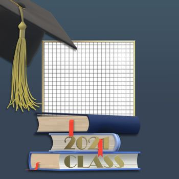 Graduation 2021 cap with tassel. Class of 2021 year on squared graph grid paper, pile of books Education concept, isolated. Place for text, copy space. 3D illustration