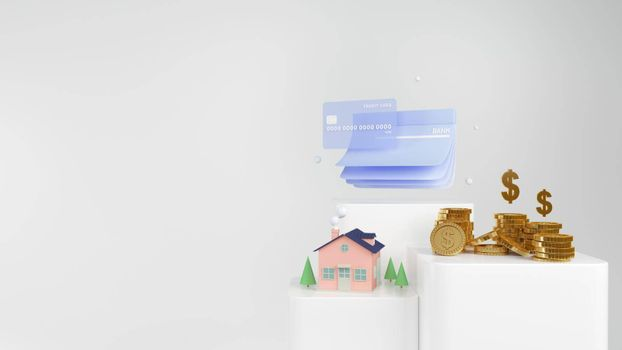 3d Render money home and golden coins  and credit card on white background