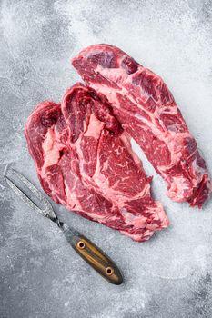 Rib eye steak fresh raw beef marbled prime meat ribeye, on gray stone background, top view flat lay