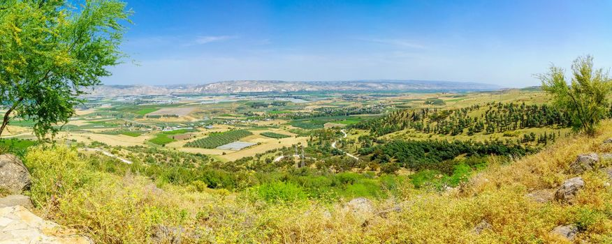 Panoramic landscape of the Lower Jordan River valley