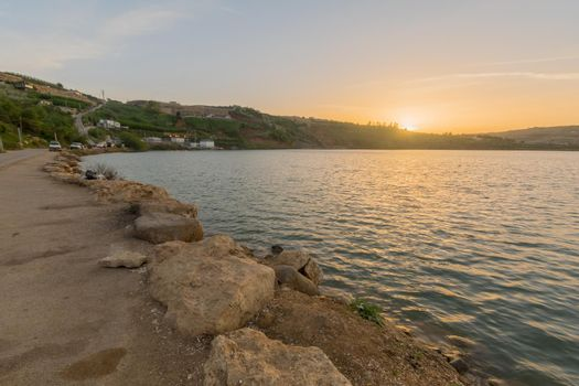 Sunset view of Lake Ram (Ram Pool), the Golan Heights