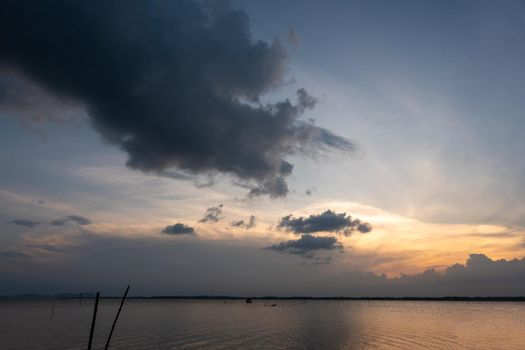 sunset over the sea with cloudy sky