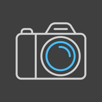 Camera vector icon on dark background. Camping sign