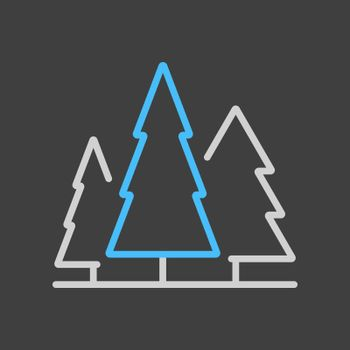 Conifer forest vector icon on dark background. Nature sign