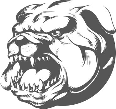 Wild Angry Bull Dog Barking Silhouette Stencil Vector Clipart Drawing