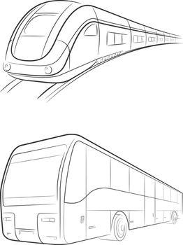 Sketch Bullet Train Bus Transportation Doodle Travel Hand Drawing