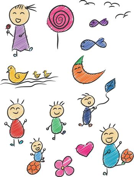 Kid Doodle Children Drawing Childhood Cartoon Vector Illustration