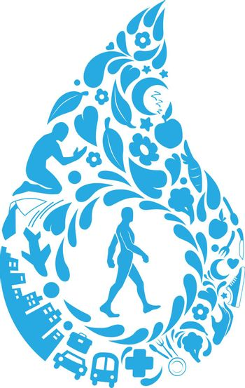 Healthy Lifestyle Doodle Modern Life Silhouette Vector Clipart Drawing