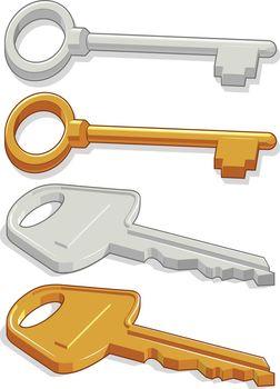Door Key Security Access Symbol Cartoon Vector Illustration Drawing