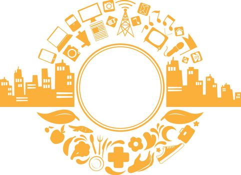 Modern City Life Doodle Lifestyle Silhouette Vector Clipart Drawing